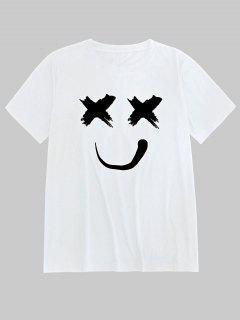 ZAFUL T-shirt Souriant Imprimé à Manches Courtes - Blanc Xl