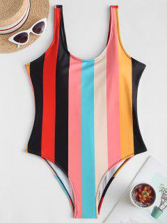 Rainbow Striped Backless One-piece Swimsuit - Multi-a M