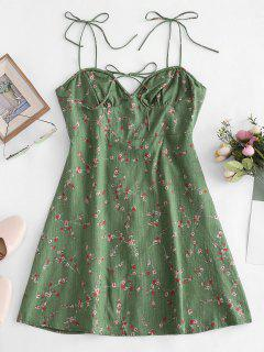 Tiny Floral Print Tie Knot Dress - Green S