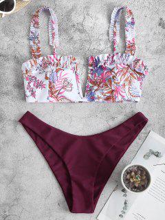 Costume Da Bagno Bikini Stampato Pianta Con Volant Di ZAFUL - Marrone Rossastro S