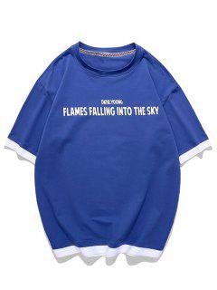 T-shirt Graphique Texte Faux Deux Pièces - Bleu Myrtille 3xl