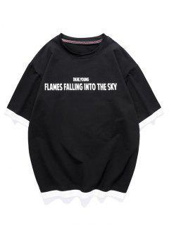 Text Graphic Faux Twinset T-shirt - Black 3xl