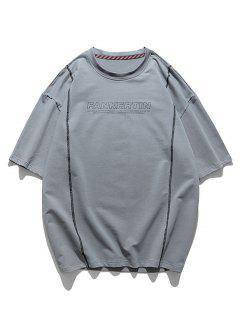 T-shirt Couture Lettre Imprimé à Manches Courtes - Oie Grise 3xl