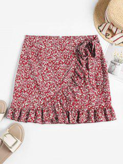 Tiny Floral Ruffles Overlap Skirt - Red S