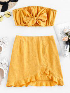 ZAFUL Bowknot Strapless Flounce Co Ord Set - Bright Yellow S