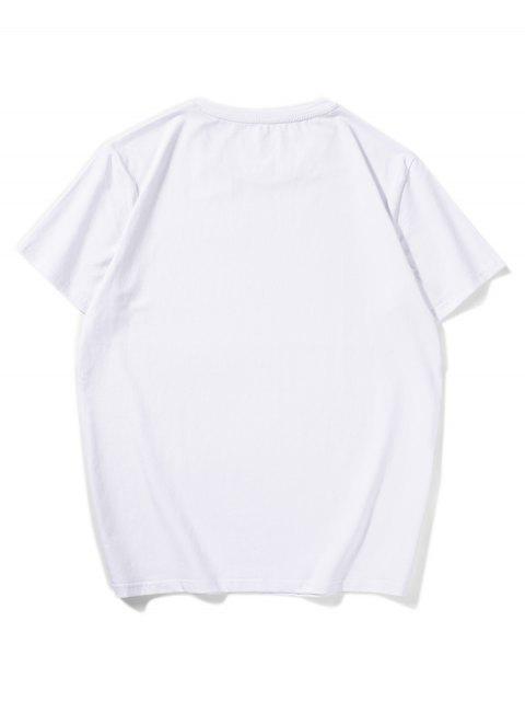 174cm mangas curtas com impresso paisley - Branco 2XL Mobile