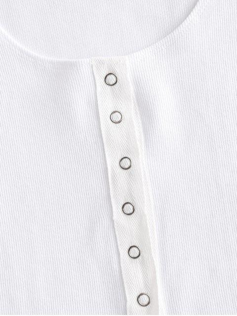 Regatas Botão de Pressão com Nervuras Sólidos Sólido - Branco M Mobile