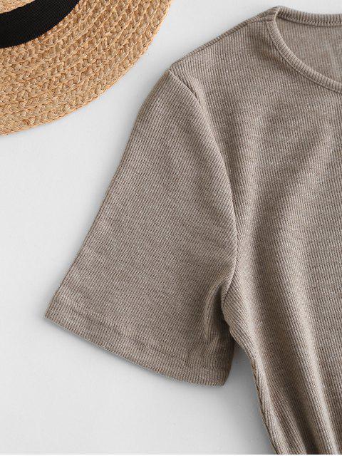 fashion Slit Ribbed Casual Mini Dress - TAN S Mobile