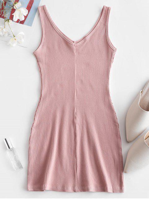 Vestido Tanque gola V com nervuras - Rosa M Mobile
