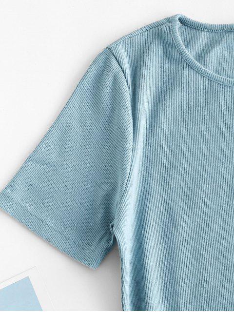 Schlitz Geripptes Lässiges Mini Kleid - Hellblau M Mobile
