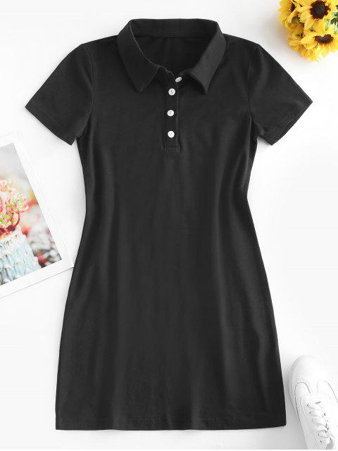 outfit Casual Half Buttoned Mini Dress - BLACK M Mobile