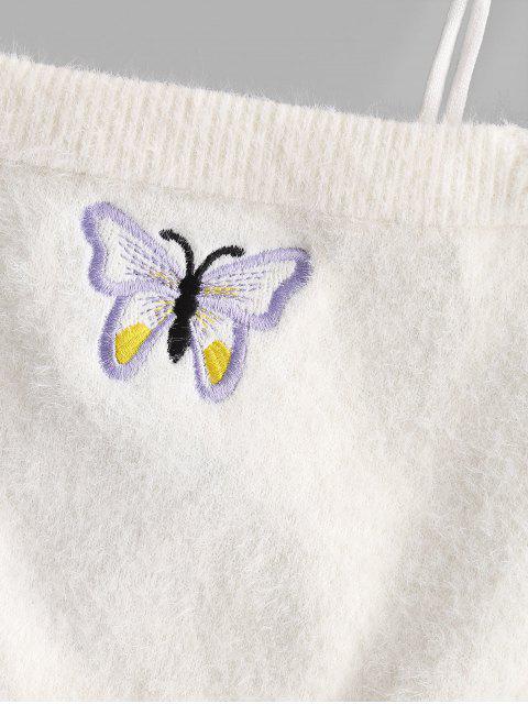 Haut Court Papillon Brodé Fourré à Epaule Nouée - Blanc S Mobile
