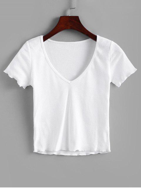 T-shirt Côtelé en Couleur Unie à Col V - Blanc S Mobile