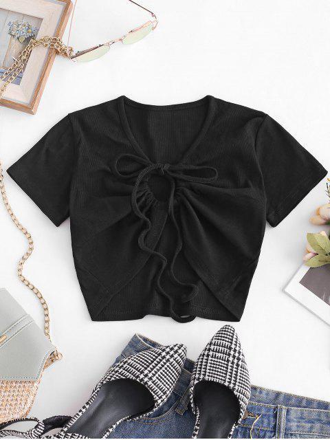 T-shirt Court Côtelé à Cordon en Avant - Noir M Mobile