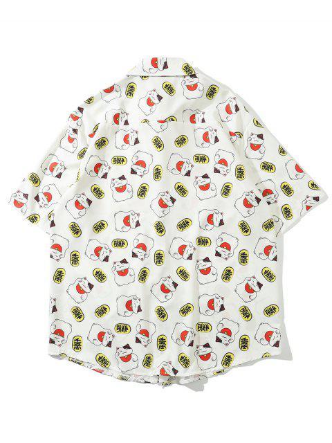 Vermögen Gestreifter Druck Taschen Patch Hemd - Weiß 2XL Mobile
