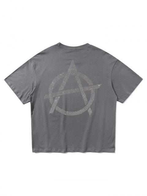 T-shirt Lettre Graphique Brillant Imprimée à Manches Courtes - Gris Foncé XL Mobile