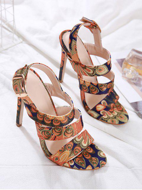 outfits Peacock Print Super High Heel Ankle Strap Sandals - MULTI-A EU 38 Mobile