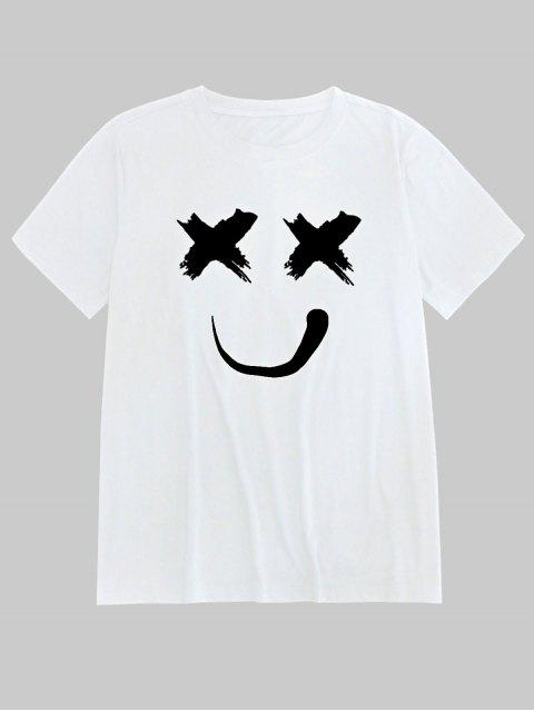 ZAFUL Smiling Print Short Sleeves T-shirt - أبيض L Mobile