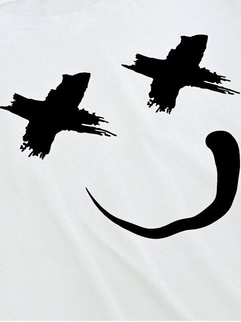buy ZAFUL Smiling Print Short Sleeves T-shirt - WHITE L Mobile