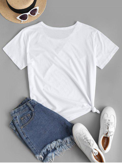 Basic Heart Q Graphic T Shirt - أبيض XL Mobile