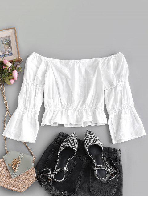 sale Peplum Hem Off Shoulder Blouse - WHITE L Mobile