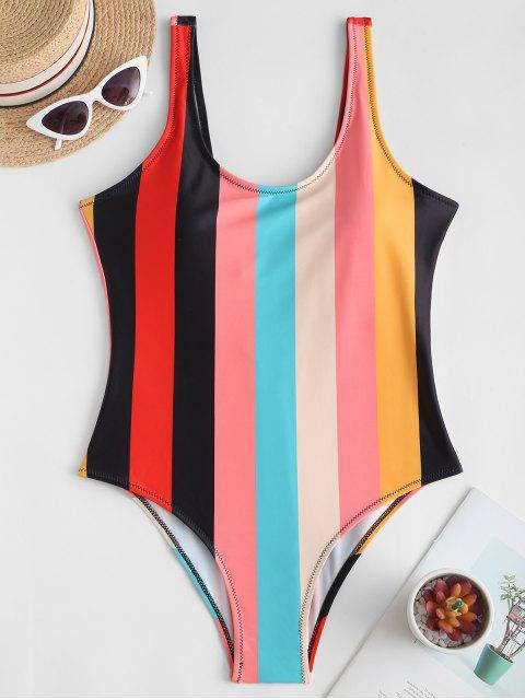 Rainbow Striped Backless One-piece Swimsuit - متعددة-A L Mobile