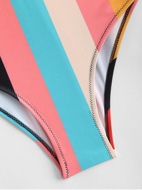 Bañador de Rayas de Arco Iris con Una Pieza con Espalda Abierta - Multicolor-A L Mobile