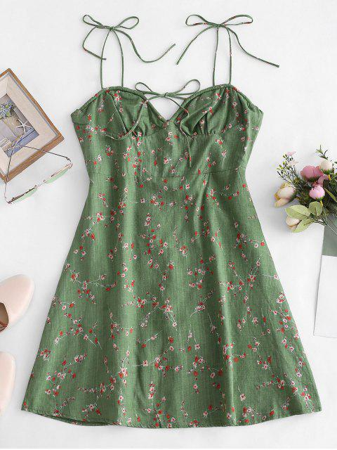 outfit Tiny Floral Print Tie Knot Dress - GREEN L Mobile
