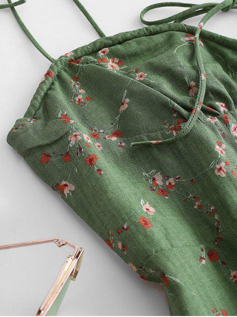 hot Tiny Floral Print Tie Knot Dress - GREEN S Mobile