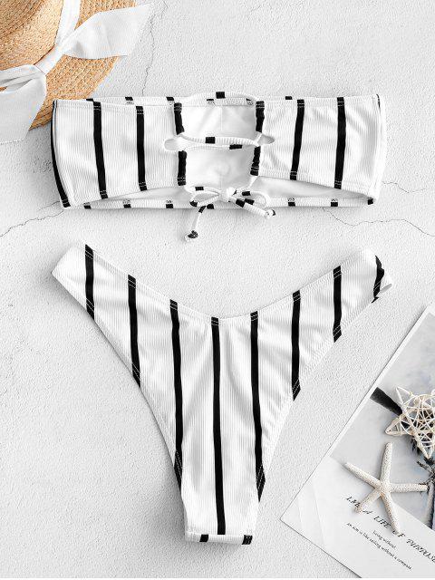 Costume da Bagno Bikini a Fascia a Costine a Righe con Lacci di ZAFUL - Bianca M Mobile