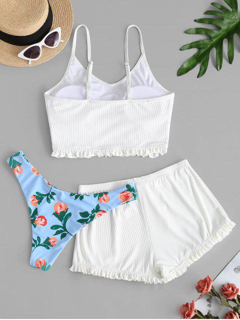 ZAFUL Gerüschter Gerippter Dreiteilige Badebekleidung mit Rüschen und Blumenmuster - Weiß L Mobile