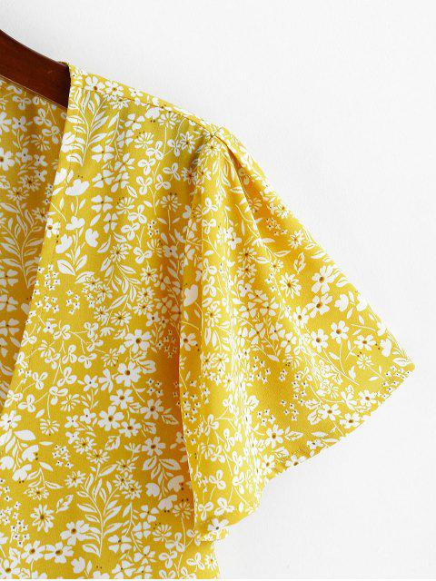 unique ZAFUL Tie Front Plunging Neck Ditsy Print Blouse - YELLOW S Mobile