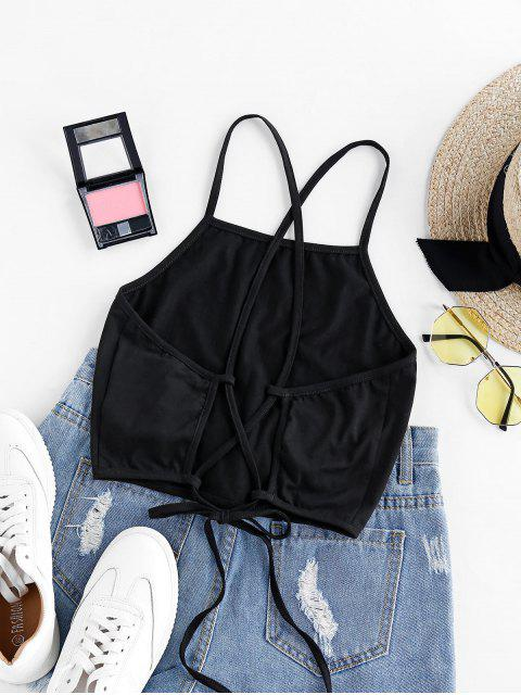 outfit ZAFUL Lace Up Graphic Crop Cami Top - BLACK L Mobile