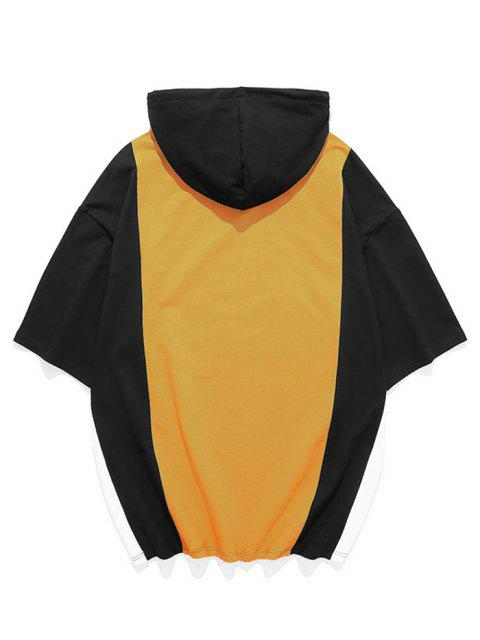 unique Color Blocking Panel Hooded T-shirt - SUN YELLOW 3XL Mobile