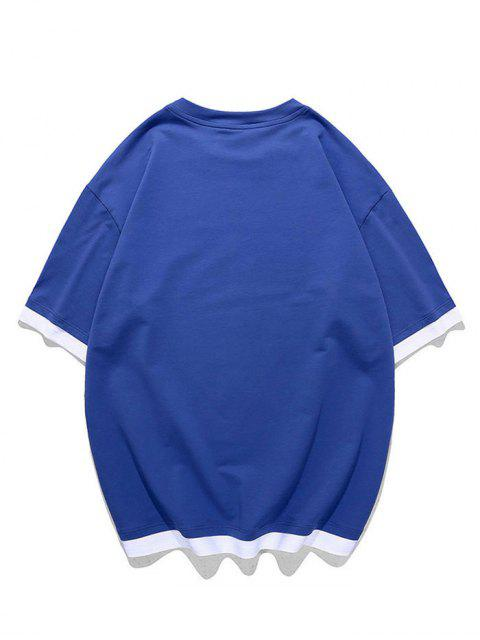 Text Graphic Faux Twinset T-shirt - Blueberry Blue XL Mobile