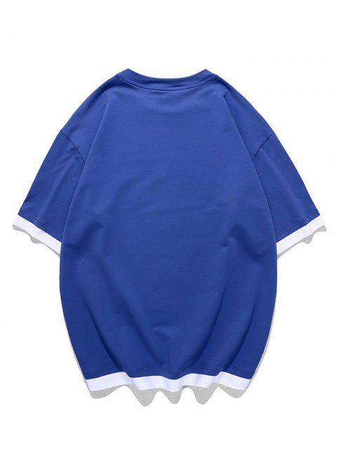 Camiseta con Gráfica de Faux Twinset - Azul de Arándanos 2XL Mobile
