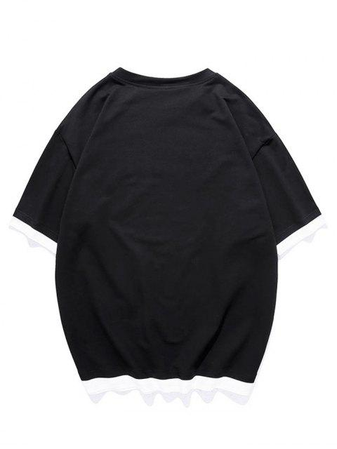 Camiseta con Gráfica de Faux Twinset - Negro XL Mobile
