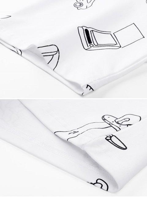 T-shirt Especial de Emagrecimento Gráfico de Mangas Curtas para Homens - Branco M Mobile