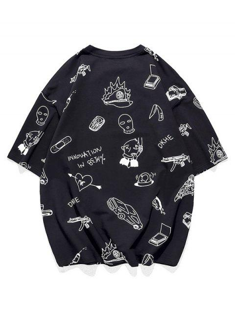 Drawing Graphic Allover Print Short Sleeve T-shirt - أسود 3XL Mobile