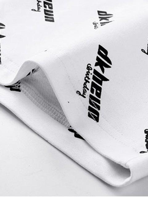 women Letter Print Spliced Short Sleeve T-shirt - WHITE 3XL Mobile