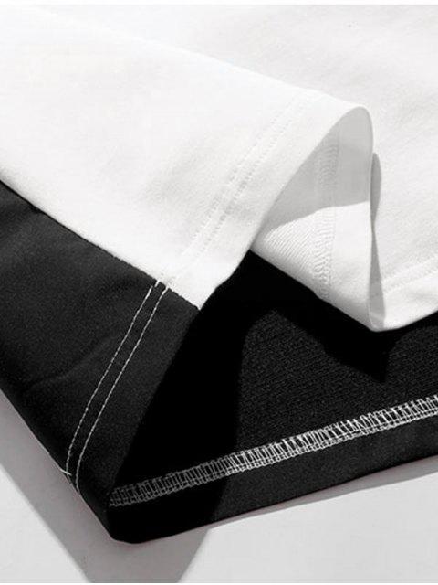 T-shirt de Manga Curta de Impressão de Carta de Bloco de Cores - Branco 2XL Mobile