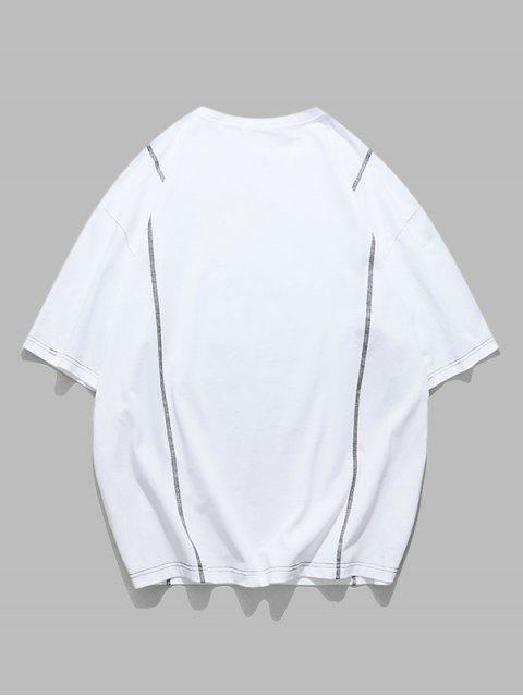 Stitching Letter Print Short Sleeve T-shirt - أبيض 2XL Mobile