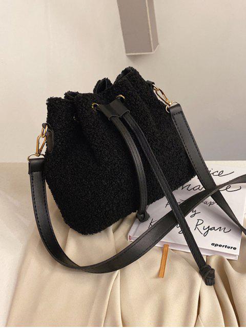 womens Plush Drawstring Crossbody Bag - BLACK  Mobile