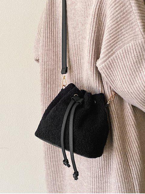 الرباط القطيفة حقيبة CROSSBODY - أسود  Mobile