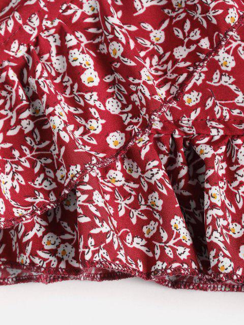 new Tiny Floral Ruffles Overlap Skirt - RED S Mobile