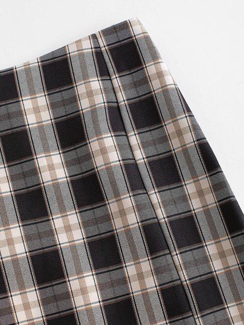 chic Plaid Slit Front Mini Skirt - BLACK L Mobile