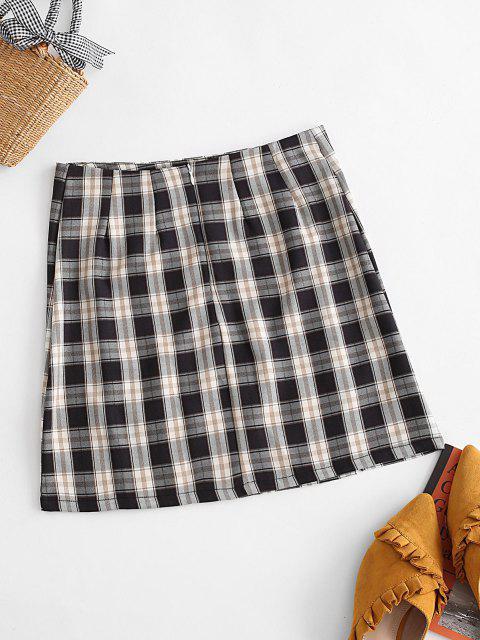 buy Plaid Slit Front Mini Skirt - BLACK M Mobile