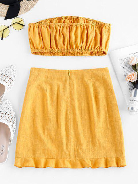 ladies ZAFUL Bowknot Strapless Flounce Co Ord Set - BRIGHT YELLOW S Mobile