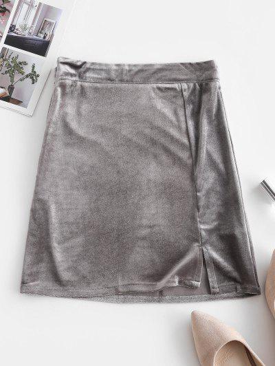 Side Zipper Slit Velvet Mini Skirt - Gray M