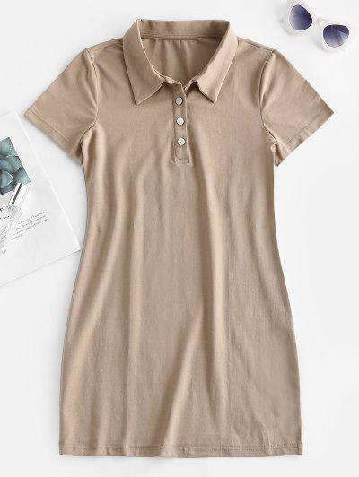Casual Half Buttoned Mini Dress - Tan M